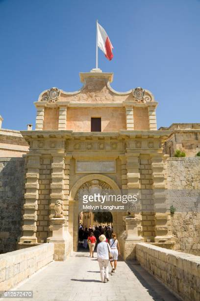 Mdina Gate, at the entrance to the medieval city of Mdina, Malta