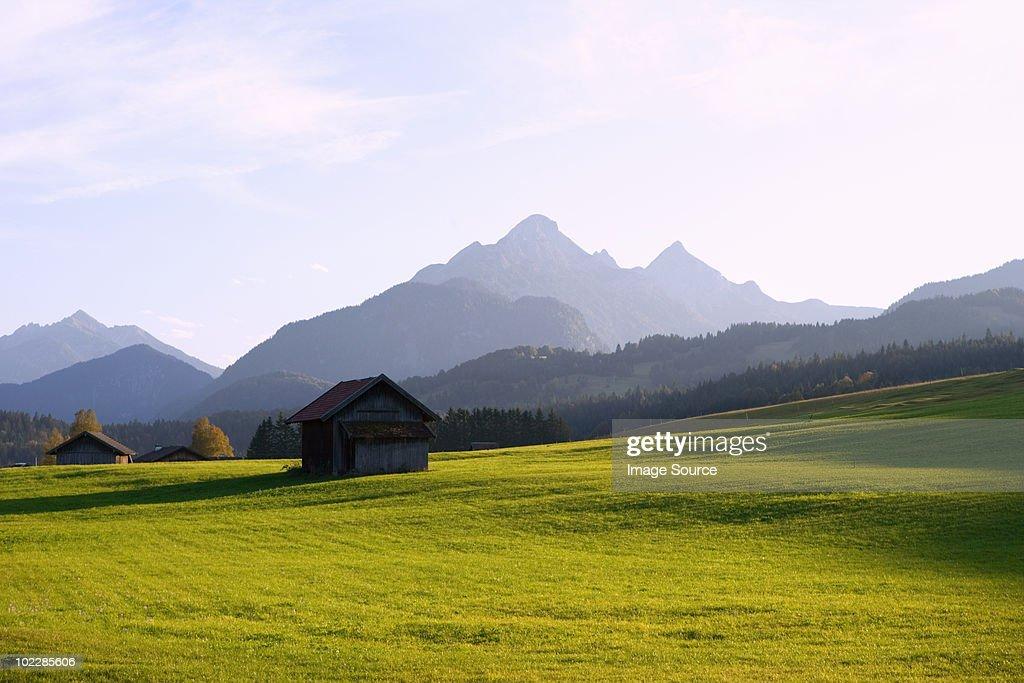 Meadow and karwendel mountains in bavaria