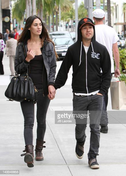 Meagan Camper and Pete Wentz are seen in Beverly Hills on April 24 2012 in Los Angeles California