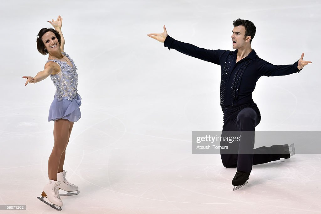 <a gi-track='captionPersonalityLinkClicked' href=/galleries/search?phrase=Meagan+Duhamel&family=editorial&specificpeople=2076875 ng-click='$event.stopPropagation()'>Meagan Duhamel</a> and <a gi-track='captionPersonalityLinkClicked' href=/galleries/search?phrase=Eric+Radford&family=editorial&specificpeople=5587908 ng-click='$event.stopPropagation()'>Eric Radford</a> of Canada compete in the Pairs Short Program during day one of ISU Grand Prix of Figure Skating 2014/2015 NHK Trophy at the Namihaya Dome on November 28, 2014 in Osaka, Japan.