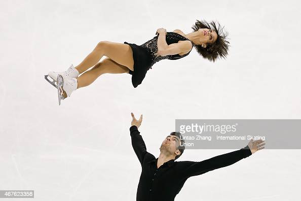 Meagan Duhamel and Eric Radford of Canada perform during the Pairs Free Skating on day two of the 2015 ISU World Figure Skating Championships at...