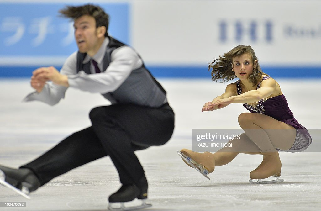 Meagan Duhamel (R) and Eric Radford (L) of Canada perform in the pairs free skating at the World Team Trophy figure skating competition in Tokyo on April 13, 2013.