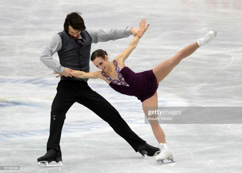 Meagan Duhamel and Eric Radford of Canada skate in the Pairs Free Skating after the medals ceremony for the pair's competition during day three of the ISU Four Continents Figure Skating Championships at Osaka Municipal Central Gymnasium on February 10, 2013 in Osaka, Japan.