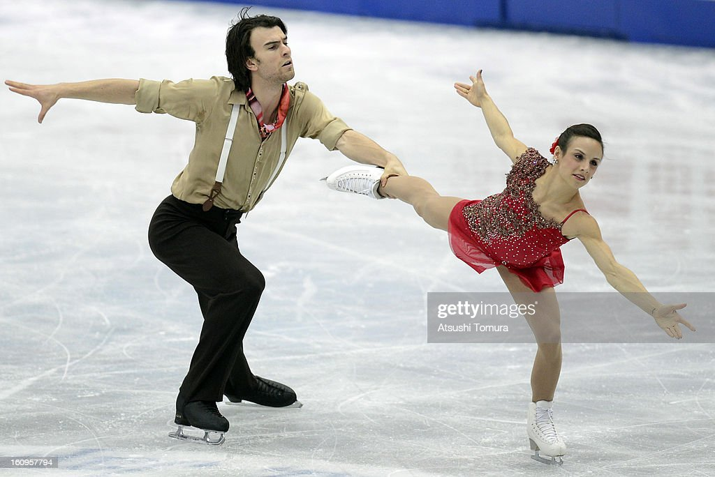 Meagan Duhamel and Eric Radford of Canada skate in the Pairs Short Program during day one of the ISU Four Continents Figure Skating Championships at Osaka Municipal Central Gymnasium on February 8, 2013 in Osaka, Japan.