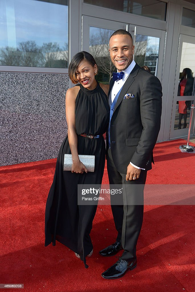 <a gi-track='captionPersonalityLinkClicked' href=/galleries/search?phrase=Meagan+Good&family=editorial&specificpeople=171680 ng-click='$event.stopPropagation()'>Meagan Good</a> and Devon Franklin arrives at the 2014 Trumpet Awards at Cobb Energy Performing Arts Center on January 25, 2014 in Atlanta, Georgia.