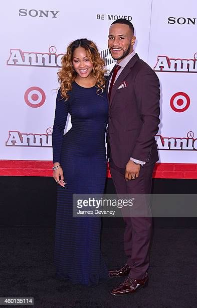 Meagan Good and DeVon Franklin attend the 'Annie' World Premiere at Ziegfeld Theater on December 7 2014 in New York City