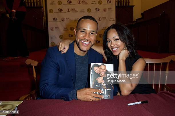 Meagan Good And DeVon Franklin Book Signing For 'The Wait' at the Church of Christian Fellowship on February 29 2016 in Los Angeles California
