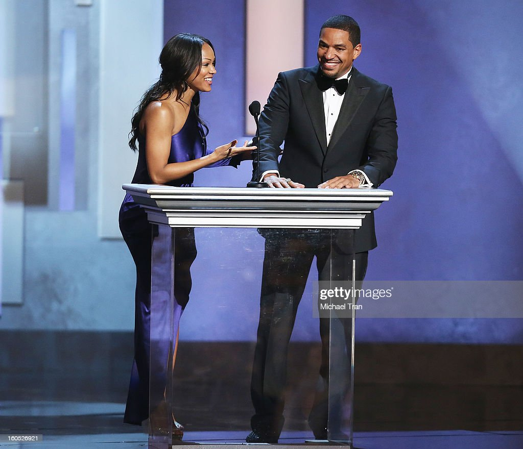 Meagan Good and Laz Alonso speak onstage at the 44th NAACP Image Awards - show held at The Shrine Auditorium on February 1, 2013 in Los Angeles, California.