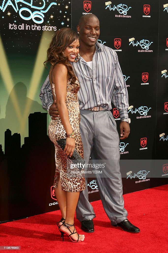 Meagan Good and Tyrese Gibson during 2006 BET Awards - Arrivals at The Shrine in Los Angeles, California, United States.