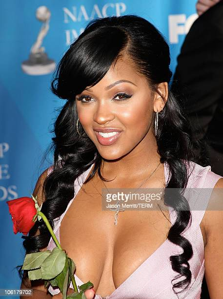 Meagan Good arrives at the 39th NAACP Image Awards held at the Shrine Auditorium on February 14 2008 in Los Angeles California