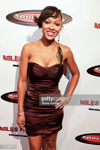 Meagan Good arrives for the 'Miles From Home' DVD release celebrations at SupperClub Los Angeles on March 15 2011 in Los Angeles California