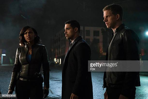 Meagan Good Wilmer Valderrama and Stark Sands in the allnew The American Dream episode of MINORITY REPORT airing Monday Nov 16 on FOX