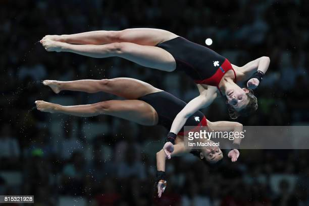 Meaghan Benfeito and Caeli McKay of Canada compete in the preliminary round of the Women's 10m Synchro Platform during day three of the 2017 FINA...