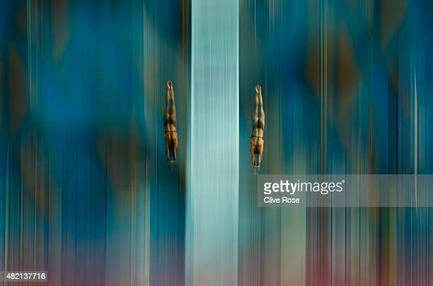 Meaghan Benfeito and Roselin Filion of Canada compete in the Women's 10m Platform Synchronised Final on day three of the 16th FINA World...