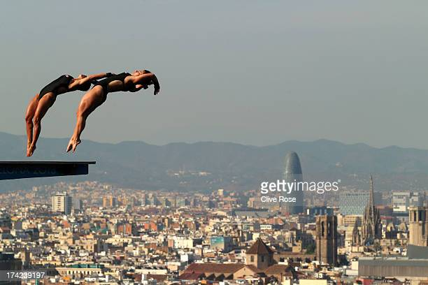 Meaghan Benfeito and Roseline Filion of Canada compete in the Women's 10m Springboard Diving final on day three of the 15th FINA World Championships...