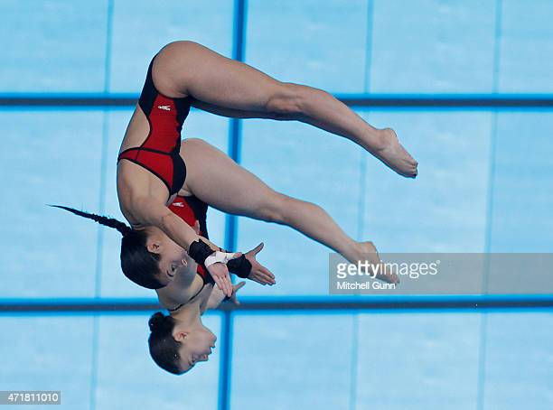 Meaghan Benfeito and Roseline Filion of Canada competing in the 10m Platform Synchro Women Final during day one of the FINA/NVC Diving World Series...