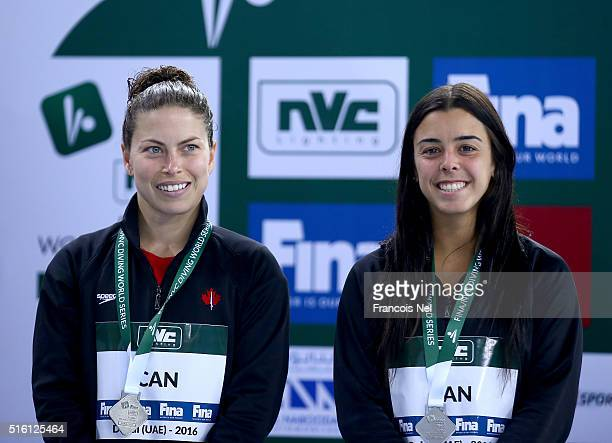 Meaghan Benfeito and Roseline Filion of Canada pose with their Silver medal after the Women's 10m Synchro Platform Final during day one of the...