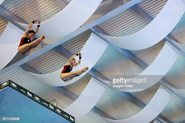 Meaghan Benfeito and Roseline Filion of Canada win Silver in the Women's 10m Synchro Final during Day One of the FINA/NVC Diving World Series 2016 at...