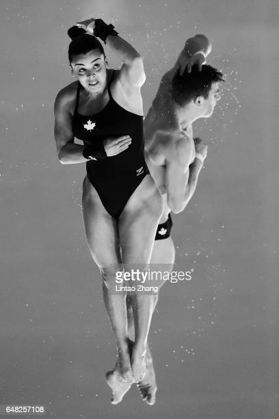 Meaghan Benfeito and Vincent Riendeau of Canada compete in the Mixed 10m Synchro Platform final on day three of the FINA/NVC Diving World Series 2017...