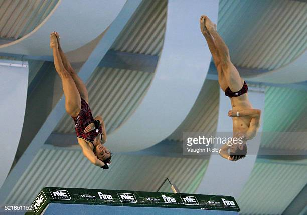 Meaghan Benfeito and Vincent Riendeau of Canada win Silver in the Mixed 10m Synchro Final during Day Two of the FINA/NVC Diving World Series 2016 at...