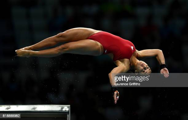 Meaghan Benfeito of Canada competes during the Women's Diving 10m Platform final on day six of the Budapest 2017 FINA World Championships on July 19...