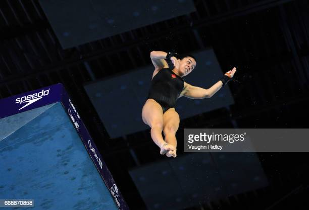 Meaghan Benfeito of Canada competes in the Women's 10m Final during Day Four of the 2017 Canada Cup/FINA Diving Grand Prix at Centre Sportif de...