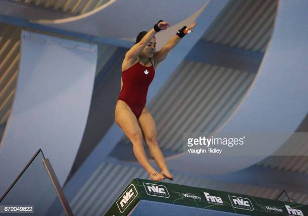 Meaghan Benfeito of Canada competes in the Women's 10m Final during the 2017 FINA Diving World Series at the Windsor International Aquatic and...