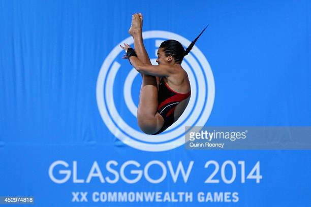 Meaghan Benfeito of Canada competes in the Women's 10m Platform Preliminaries at Royal Commonwealth Pool during day eight of the Glasgow 2014...