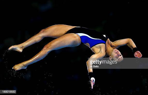 Meaghan Benfeito of Canada competes in the Women's 10m Platform Diving Preliminary on Day 12 of the London 2012 Olympic Games at the Aquatics Centre...