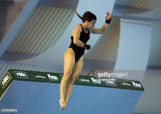Meaghan Benfeito of Canada competes in the Women's 10m Semifinal B during the 2017 FINA Diving World Series at the Windsor International Aquatic and...