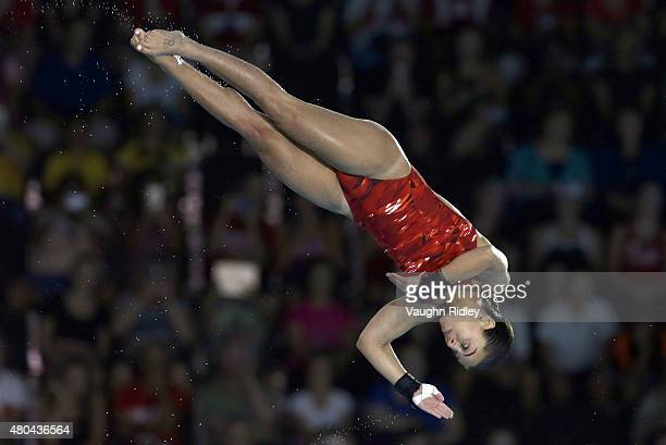Meaghan Benfeito of Canada wins Bronze in the Women's 10m Platform Final during the Toronto 2015 Pan Am Games at the CIBC Aquatic Centre on July 11...