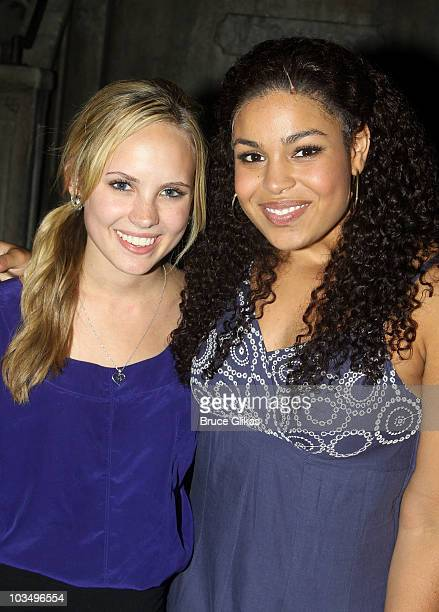 Meaghan Jette Martin and Jordin Sparks pose backstage at 'In The Heights' on Broadway at the Richard Rodgers Theatre on August 19 2010 in New York...