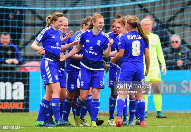 Meaghan Sargeant of Birmingham City Ladies celebrates scoring the opening goal with team mates during the SSE Women's FA Cup SemiFinal match between...