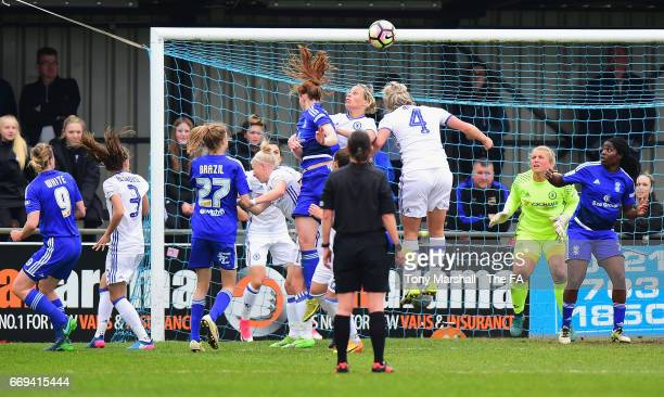 Meaghan Sargeant of Birmingham City Ladies scores the opening goal during the SSE Women's FA Cup SemiFinal match between Birmingham City Ladies and...