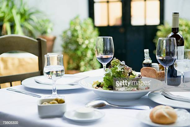 A meal in a restaurant