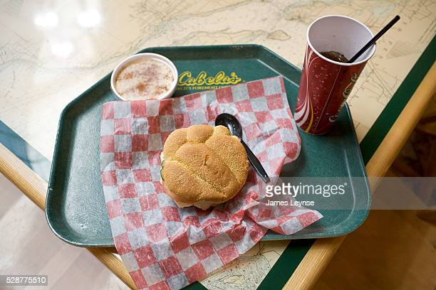 A meal of bison burger rice pudding and a coke at Cabela's Dundee Michigan store The massive 225000 sq ft store is an educational and entertainment...