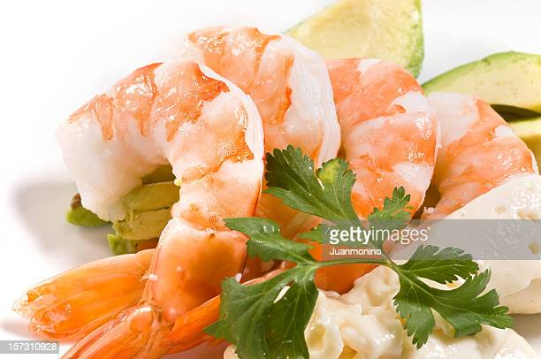 Meal with Avocado, shrimp and parsley