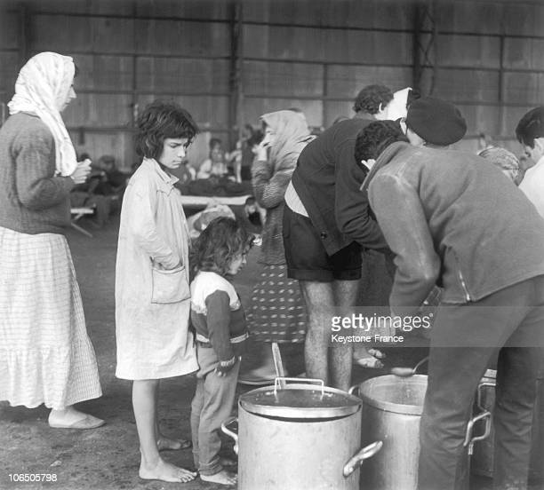 Meals Are Given Out To The Disaster Victims Temporary Housed In A Hangar Of The Air And Sea Base Of Agadir On March 4 1960