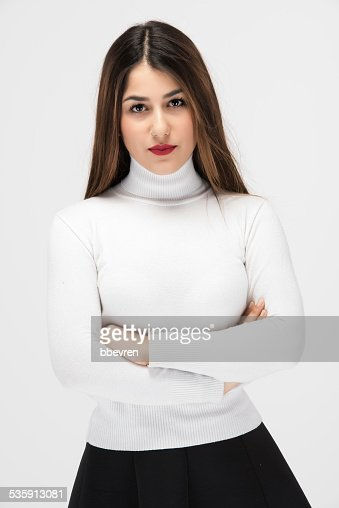 Média mulher Chefe com saia preta e Camisa branca : Foto de stock