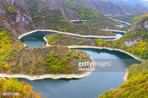 Meander of Uvac river, Serbia : Stock Photo