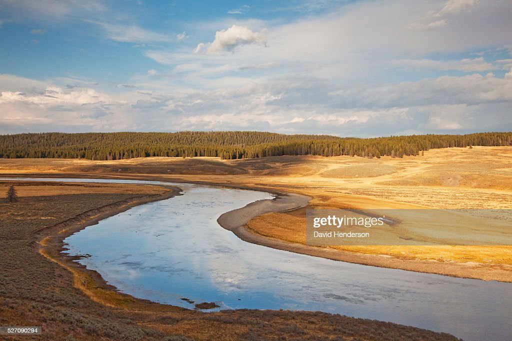Meanders of Yellowstone River, Wyoming, USA : Stock Photo