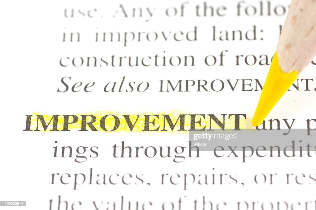 meaning of improvement definition : Stock Photo