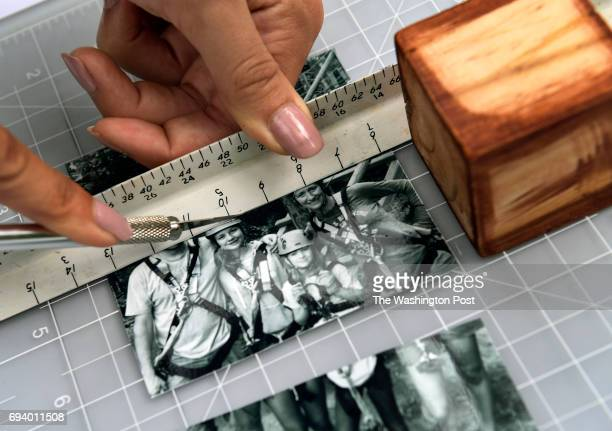 Measure with a block and use a straight edge and sharp knife to cut your photos when making a Photo Block Puzzle Photographed on June 5 2016