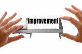 """Two hands holding a caliper, measuring the word """"Improvement""""."""
