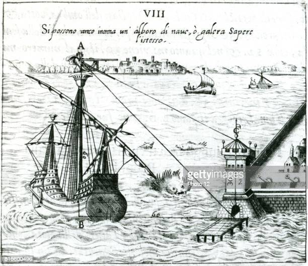 Measuring the distance from ship to shore using a quadrant marked with shadowscales From Ottavius Fabri 'L'usa della squadra mobile' Venice 1598...