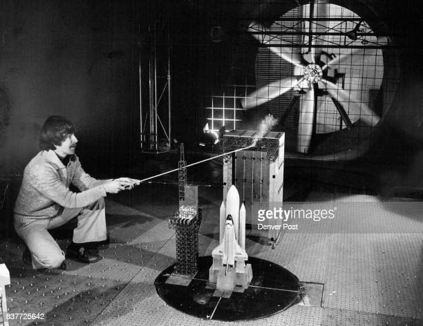 Measuring Wind Pressure On Space Shuttle Model At Colorado State University Laboratory Gerry Kiely graduate student in civil engineering a CSU holds...