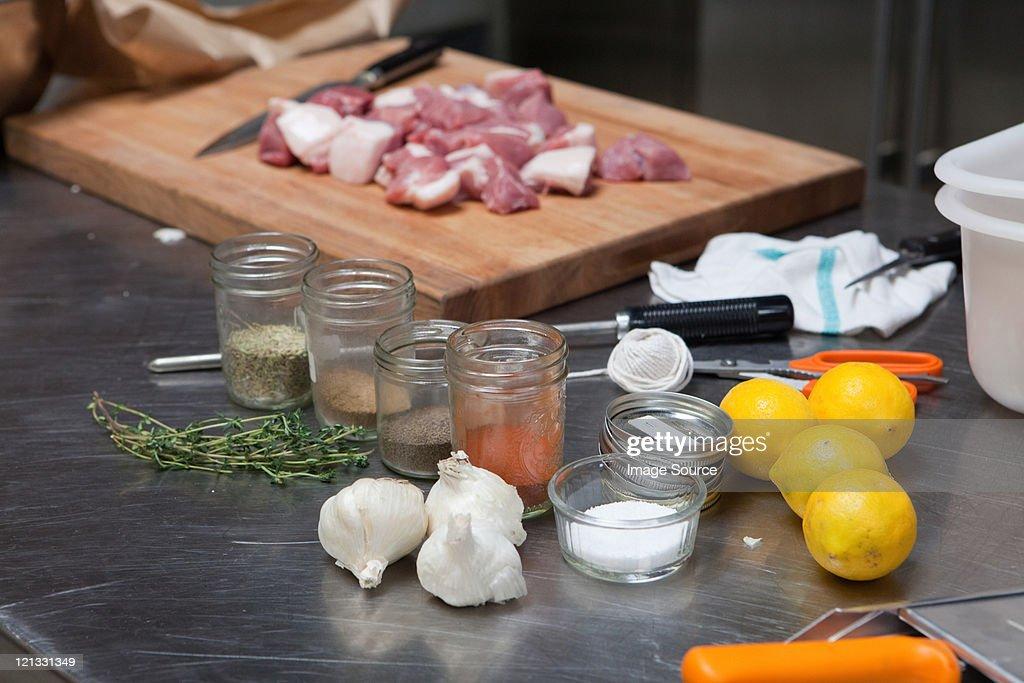 Meat and seasonings : Stock Photo