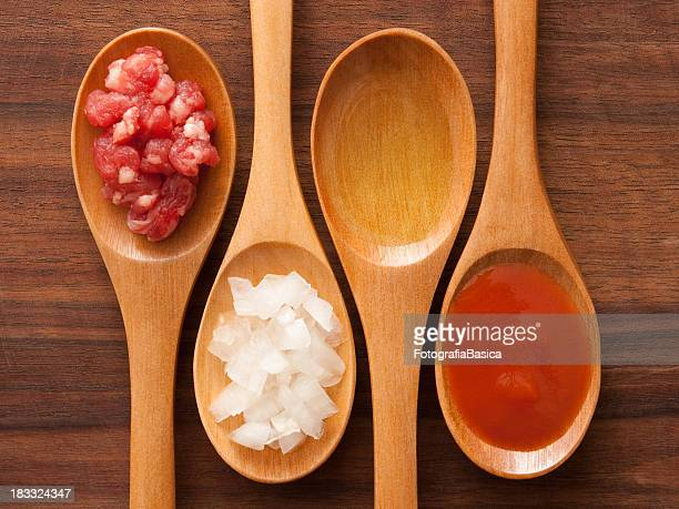 Meat and tomato sauce ingredients