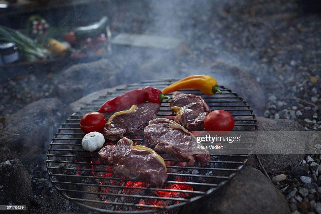 Meat and vegetables grilled on bonfire