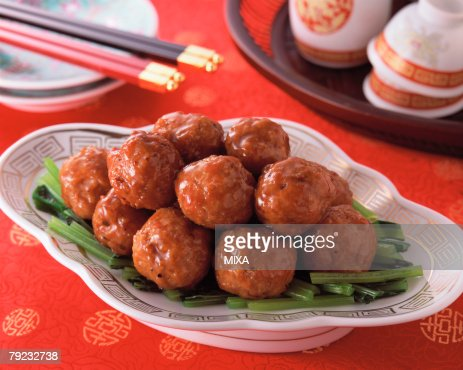 Meat Ball in Sweet and Sour Sauce : Stock Photo